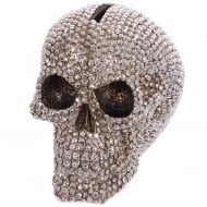 Jewelled Silver Skull Money Box