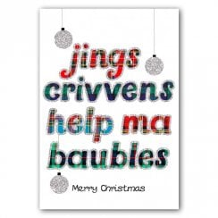 Jings Crivens Baubles Christmas Card