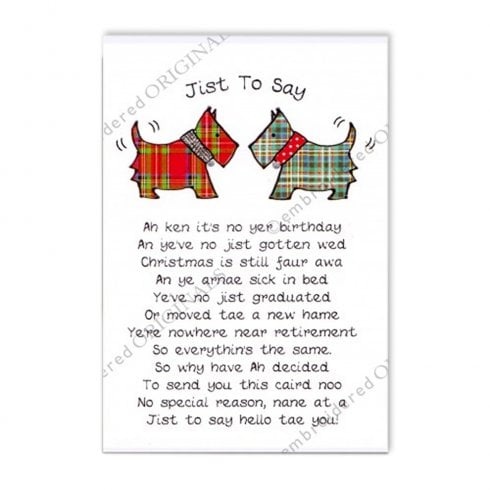 Embroidered Originals Jist To Say - Purple Tartan Scottie Dogs Greeting Card