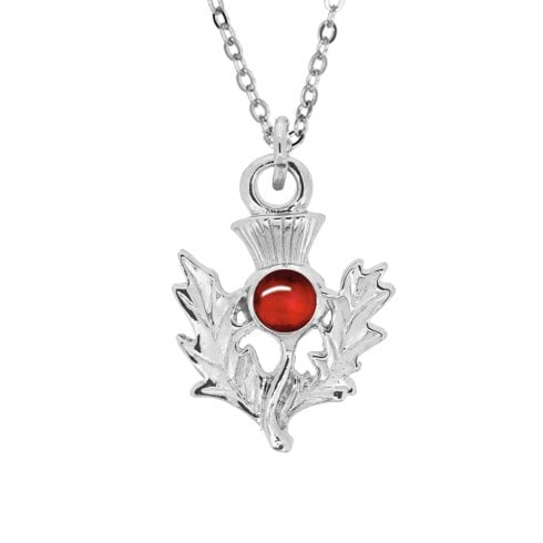July Ruby Birthstone Thistle Pendant