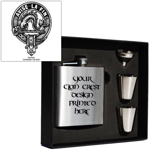Art Pewter Kennedy Clan Crest 6oz Hip Flask Box Set (S)