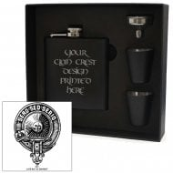 Kerr Clan Crest Black 6oz Hip Flask Box Set