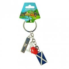 Keyring - Charm Scotland Flag And Red Heart