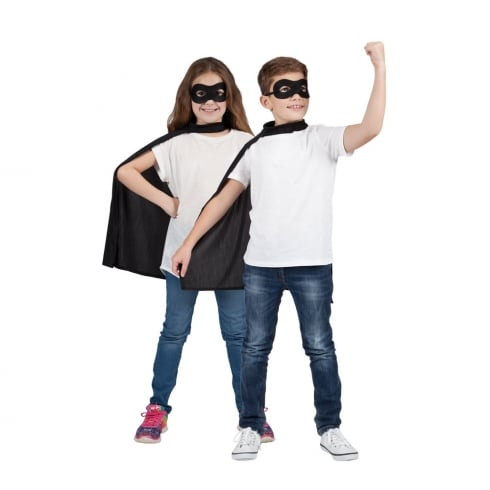 Wicked Costumes Kids Super Hero Cape & Mask Black