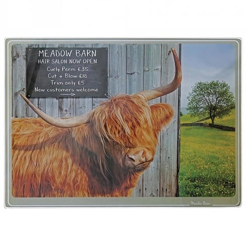Border Fine Arts Kitchy & Co Meadow Barn Highland Cow Chopping Board