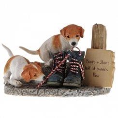Kitchy & Co Old Boots - Jack Russell Puppies Figurine