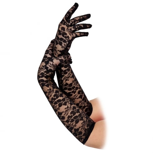 Wicked Costumes Ladies Long Lace Gloves Black