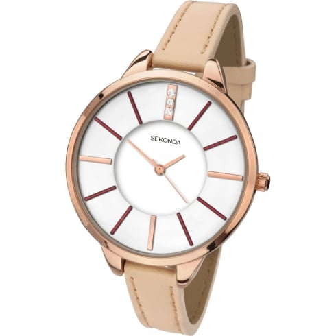 Sekonda Ladies Rose Gold Plated Quartz Watch 2013.00