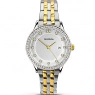 Ladies Two-Tone Stainless Steel/Gold Plated Quartz Watch with Date Display 2388.00