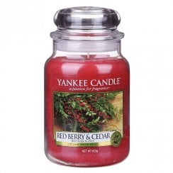 Large Jar Candle Red Apple Wreath