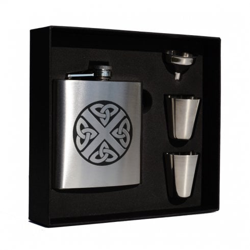 Art Pewter Leask Clan Crest 6oz Hip Flask Box Set (S)