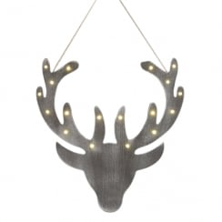 LED Wooden Stag Head 30cm Christmas Decoration