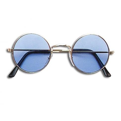 8a57995009a Bristol Novelty Lennon Glasses Blue Gold Frame - Bristol Novelty from The  Present Shop UK
