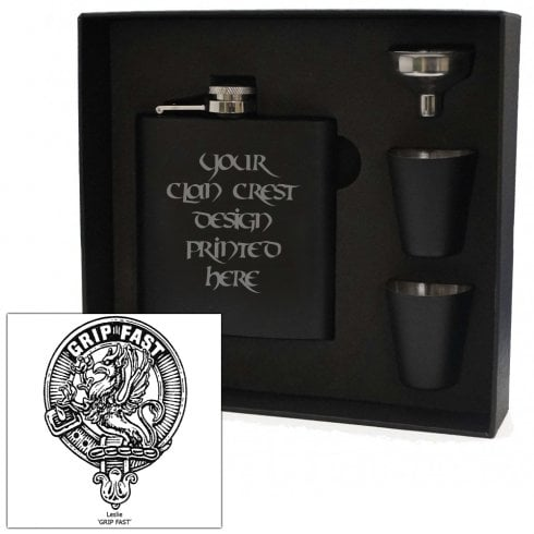Art Pewter Leslie Clan Crest Black 6oz Hip Flask Box Set