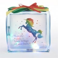 Light Up Glass Block Colourful Unicorn
