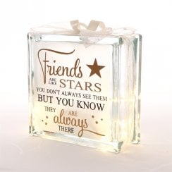 Light Up Glass Block Friends Are Stars