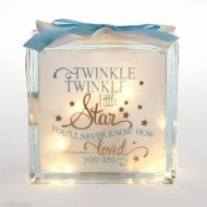 Light Up Glass Block Twinkle Boy Blue