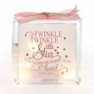 Light Up Glass Block Twinkle Girl Pink