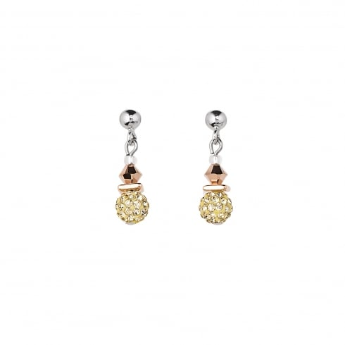 COEUR DE LION Light Yellow Swarovski Crystal with Agate Earrings with Stickpin