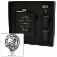 Lindsay Clan Crest Black 6oz Hip Flask Box Set