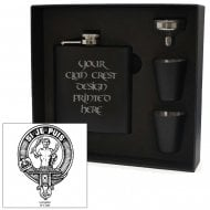 Livingstone Clan Crest Black 6oz Hip Flask Box Set