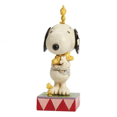 Jim Shore - Peanuts Love Is A Beagle Hug Snoopy with Woodstock Figurine