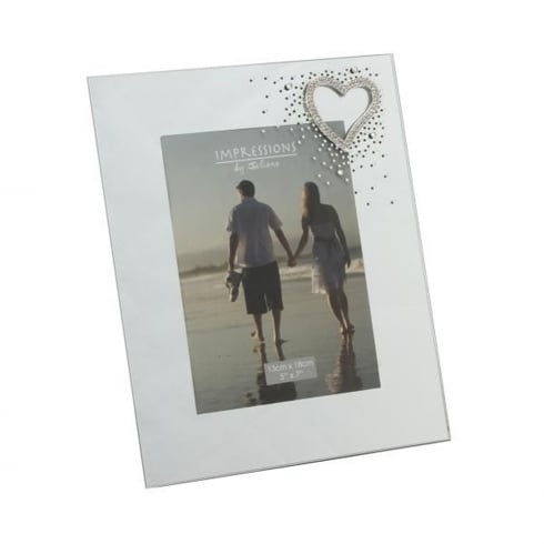 Impressions By Juliana Love Metal Heart & Crystals Mirror 5 x 7 Photo Frame