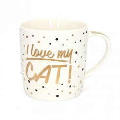 Love My Cat Gold Mug