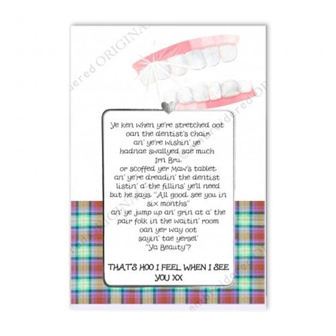 Embroidered Originals Love Notes - Dentists Chair Scottish Card