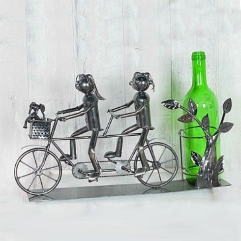 Flame Homeware Lucy & Lee Tandem Metal Wine Bottle Holder
