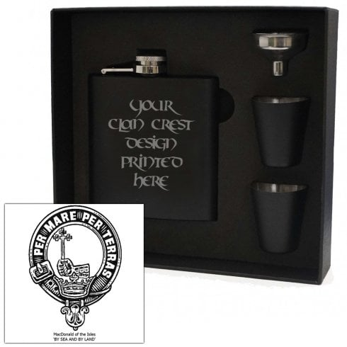 Art Pewter MacDonald (of the Isles) Clan Crest Black 6oz Hip Flask Box Set