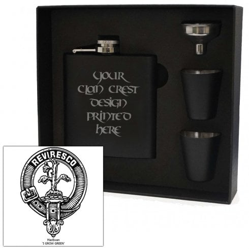 Art Pewter MacEwan Clan Crest Black 6oz Hip Flask Box Set