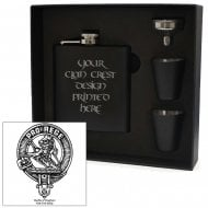 MacFie (of Dreghorn) Clan Crest Black 6oz Hip Flask Box Set