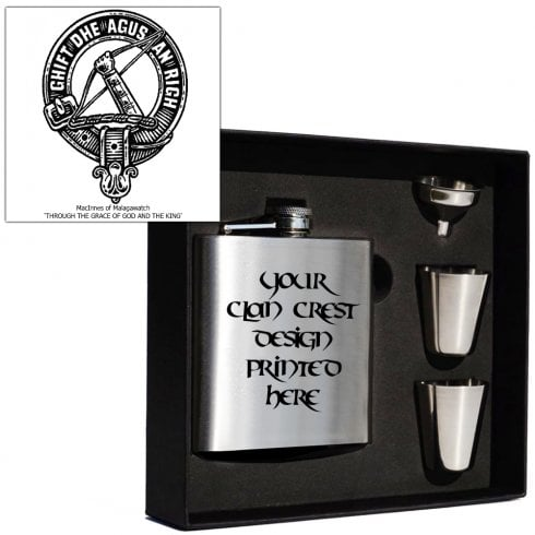 Art Pewter MacInnes (of Malagawatch) Clan Crest 6oz Hip Flask Box Set (S)