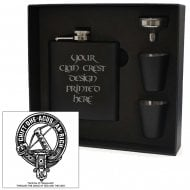 MacInnes (of Malagawatch) Clan Crest Black 6oz Hip Flask Box Set