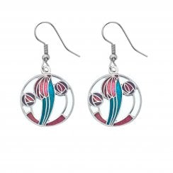 Mackintosh 18mm Earrings - Red Purple Turquoise 7673RPTQ