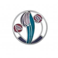 Mackintosh 35mm Round Rose Brooch Purple Red Turquoise 7675PRTQ