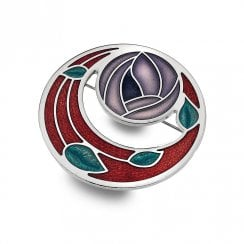 Mackintosh Red Rose & Coils Cut Out Brooch 7257RP