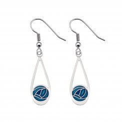 Mackintosh Rose Drop Earrings - Turquoise 7657TQ