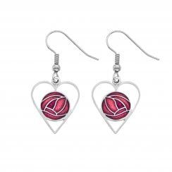 Mackintosh Rose Heart Earrings - Red 7322R