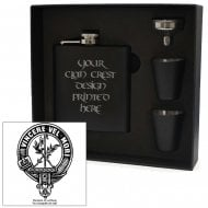 MacLaine (of Lochbuie) Clan Crest Black 6oz Hip Flask Box Set