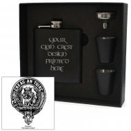 MacLaren Clan Crest Black 6oz Hip Flask Box Set