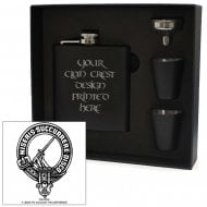 MacMillan Clan Crest Black 6oz Hip Flask Box Set