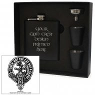 MacPherson Clan Crest Black 6oz Hip Flask Box Set