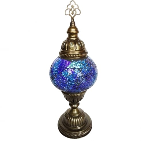 Crystal World Medium Blue Mosaic Table Lamp