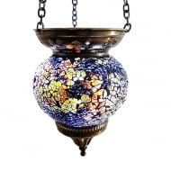 Medium Hanging Amber Mosaic T-Lite Holder