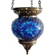 Medium Hanging Blue Mosaic T-Lite Holder
