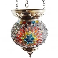 Medium Hanging Multi-Colour Mosaic T-Lite Holder
