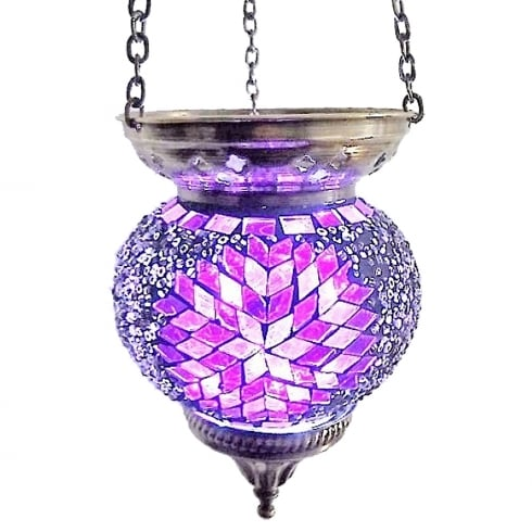 Crystal World Medium Hanging Purple Mosaic T-Lite Holder
