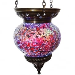 Medium Hanging Red Mosaic T-Lite Holder